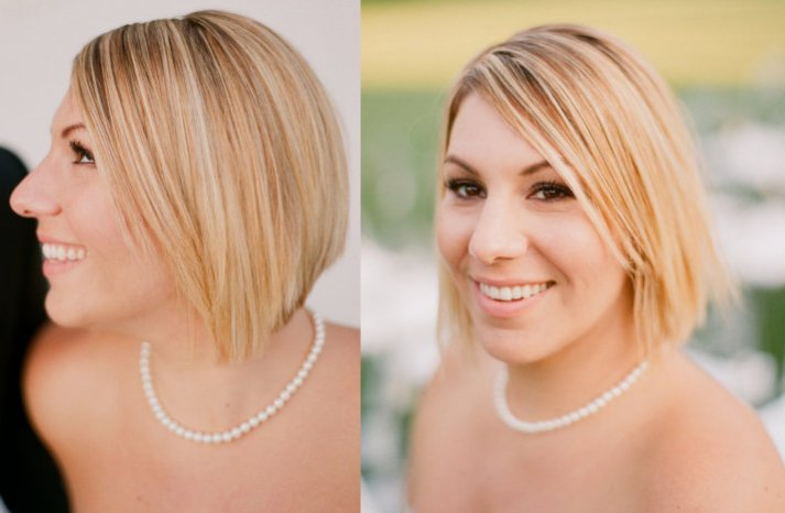 short wedding hair blonde bride sleek straight bob