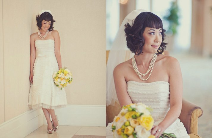 cute wedding hairstyle for short hair brides