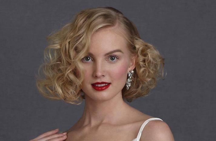 short wedding hairstyle vintage inspired brides BHLDN 4