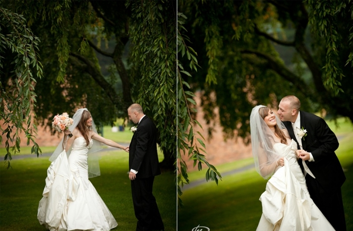 bride and groom first look under tree
