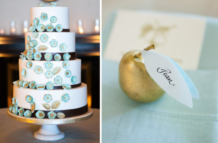 gold powder blue wedding color palette wedding cake escort cards
