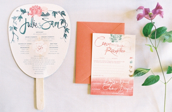 coral green wedding color palette romantic wedding stationery
