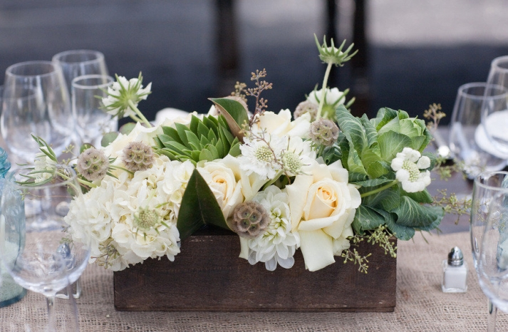 cream tan brown wedding flower centerpiece green touches