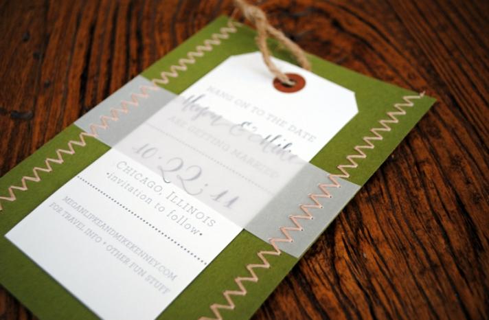 letterpress wedding invitations stitched wedding stationery green ivory khaki 2