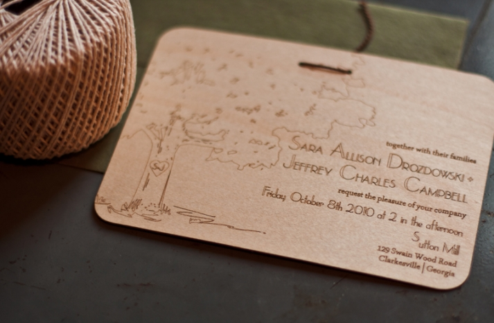 rustic wedding invitations laser etched wood wedding stationery 2