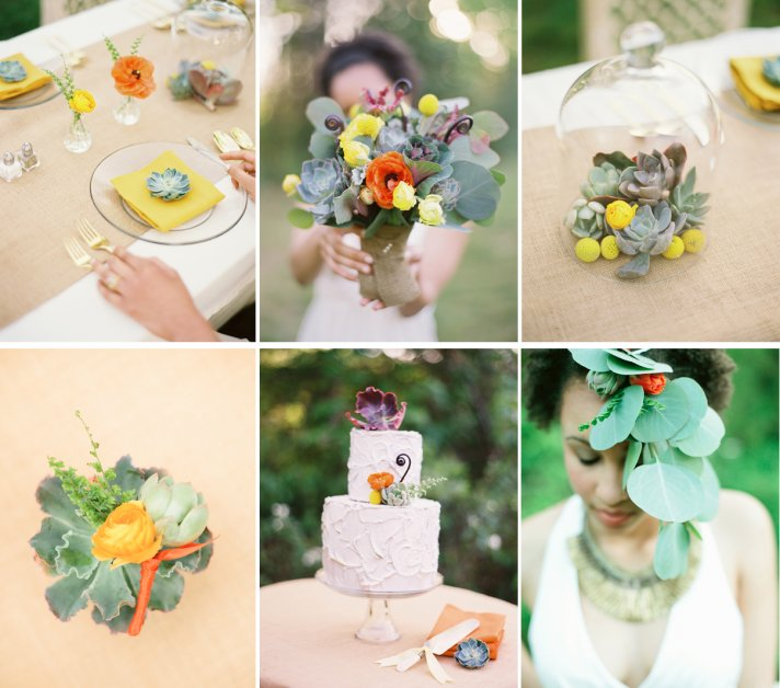 succulents ranunculus wedding flower inspiration
