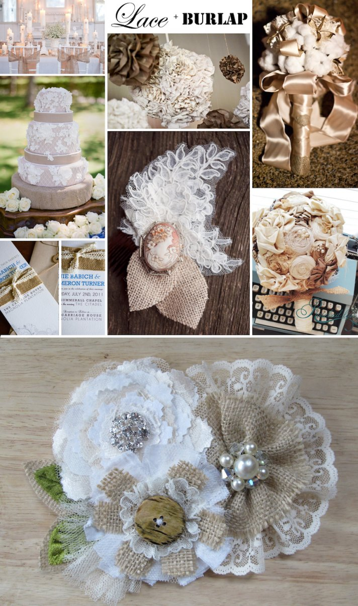 Rustic romance wedding ideas- lace and burlap