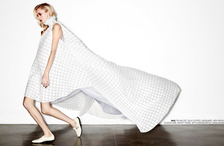 new bridal designer edgy wedding dresses by HOUGHTON polka dot cape