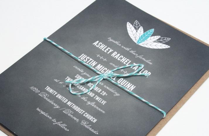 chalkboard wedding invitations feather design