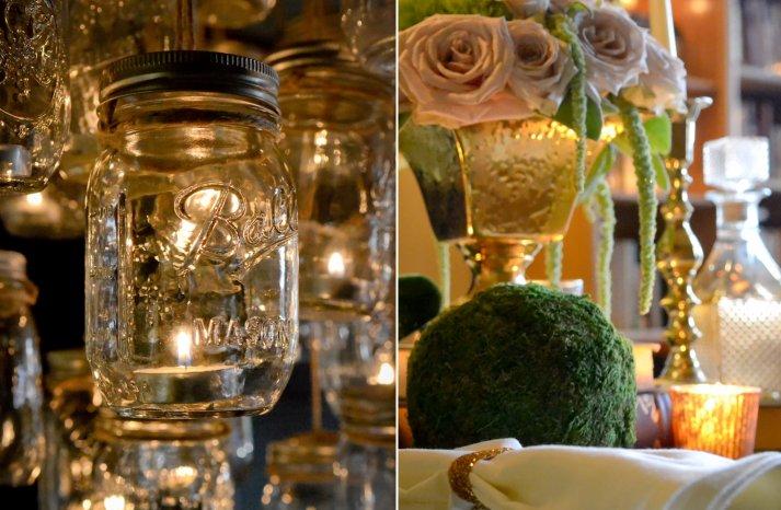 elegant vintage wedding inspiration candlelit wedding venue mason jar chandelier 3
