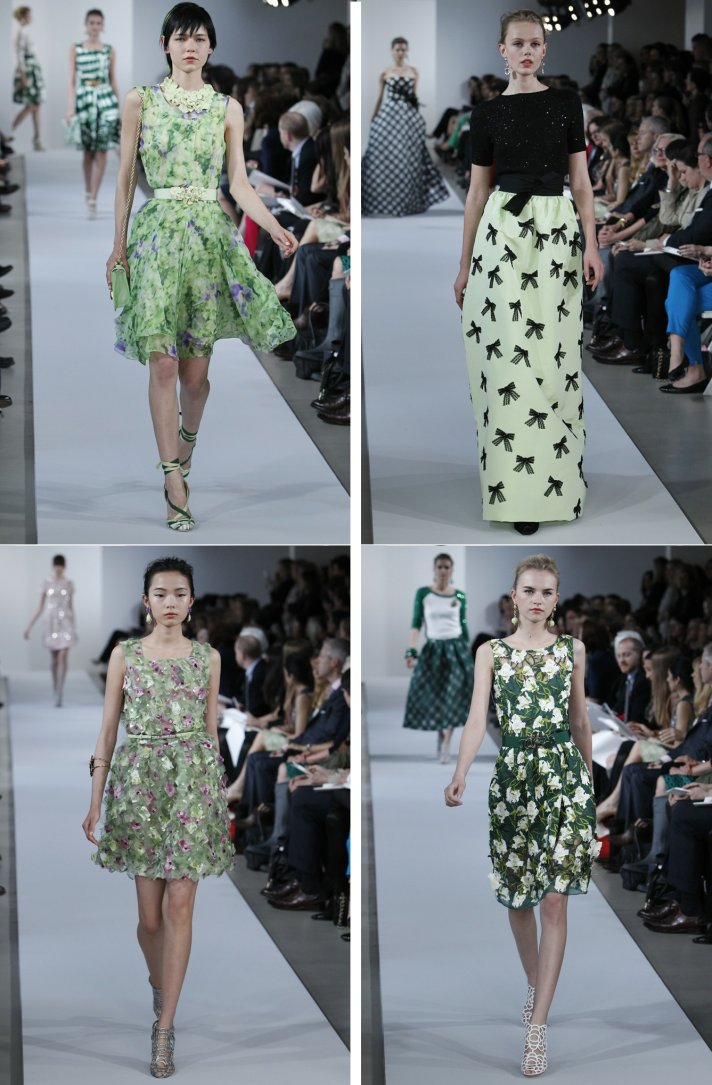 bridesmaid dress inspiration Oscar de la Renta green black floral printed dresses