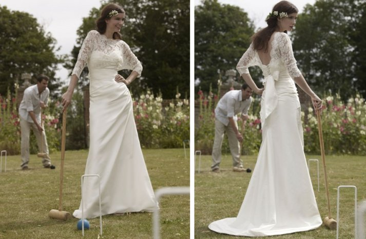 romantic wedding dresses by stephanie allin 2012 bridal gown lace cape over ivory mermaid