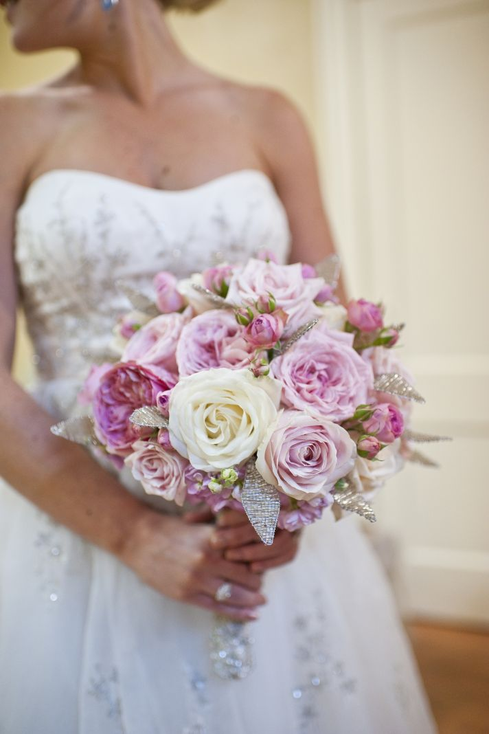 romantic rose bridal bouquet pink ivory with crystals