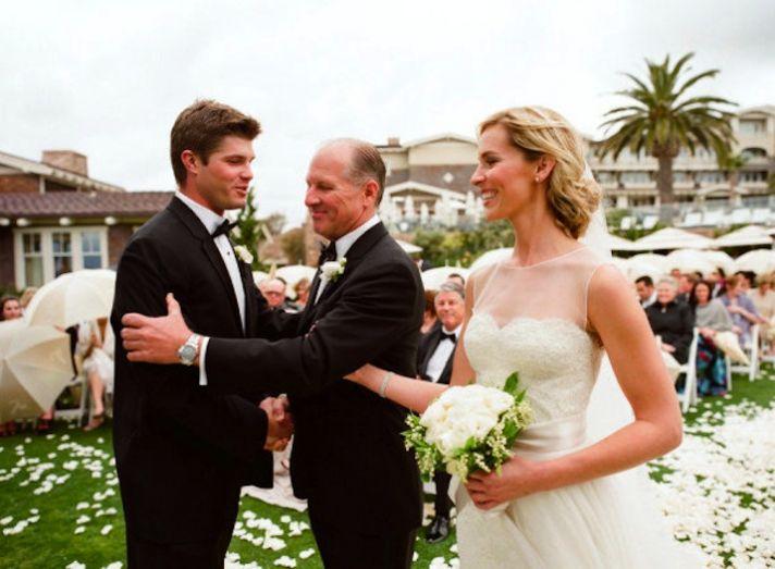romantic outdoor wedding bride groom at ceremony