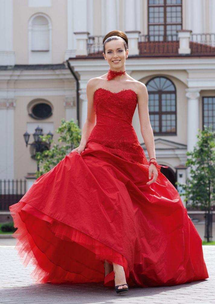red wedding dress taffeta tulle