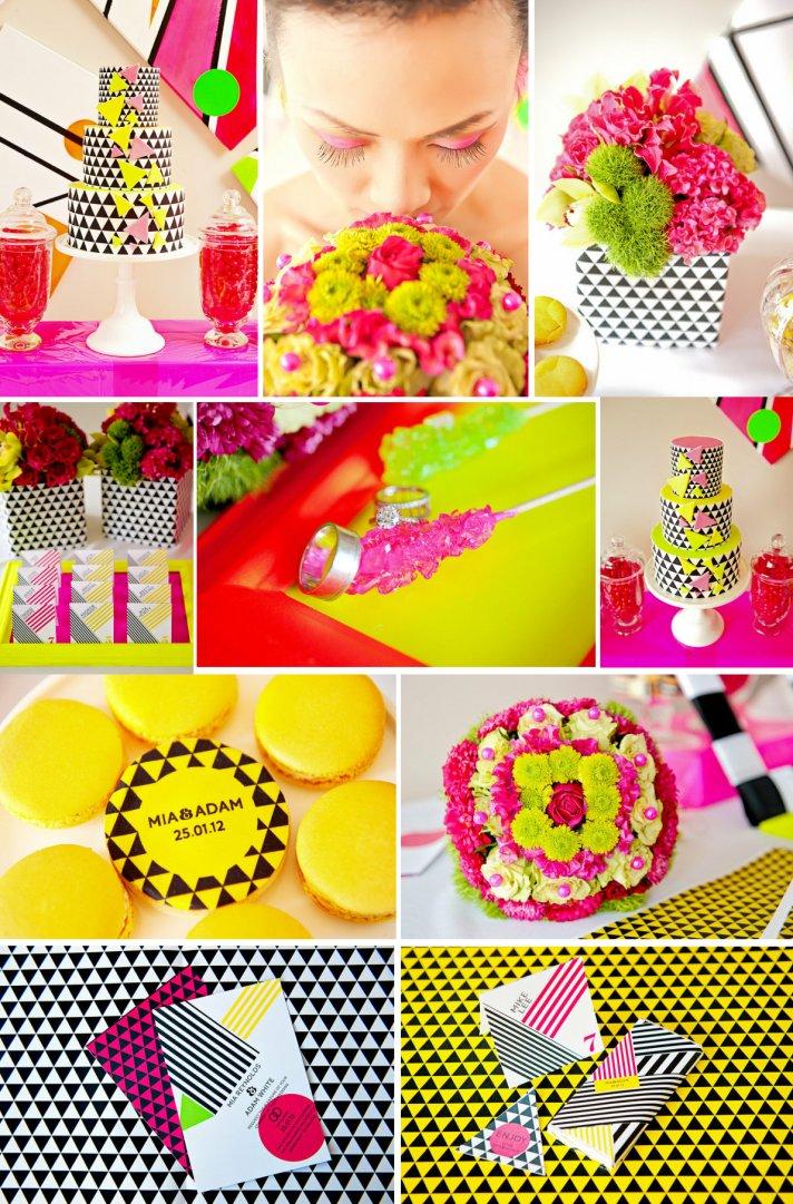 neon wedding inspiration modern patterns