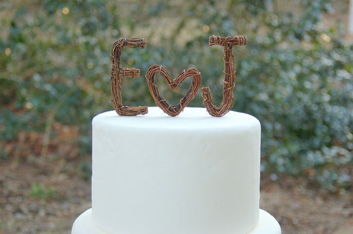 ideas to incorporate a custom wedding monogram Etsy weddings rustic cake topper