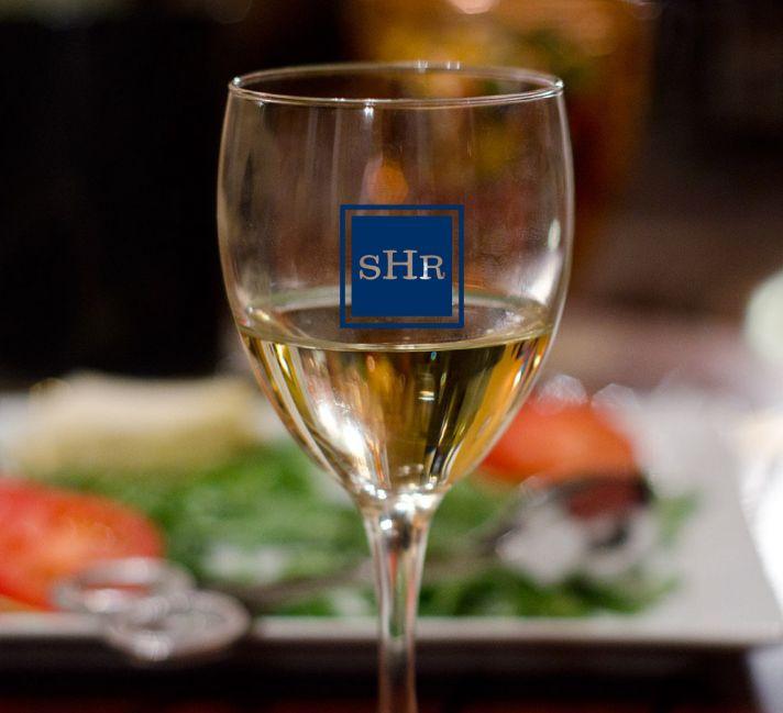 custom monogram on wedding wine glasses