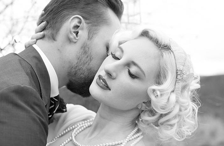 black white vintage bride with blonde hair