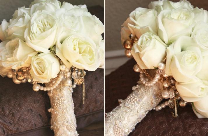 vintage jewelry wedding bouquet aileen tran 2