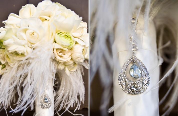 elegant ivory wedding flowers vintage bridal bouquet with feathers 1