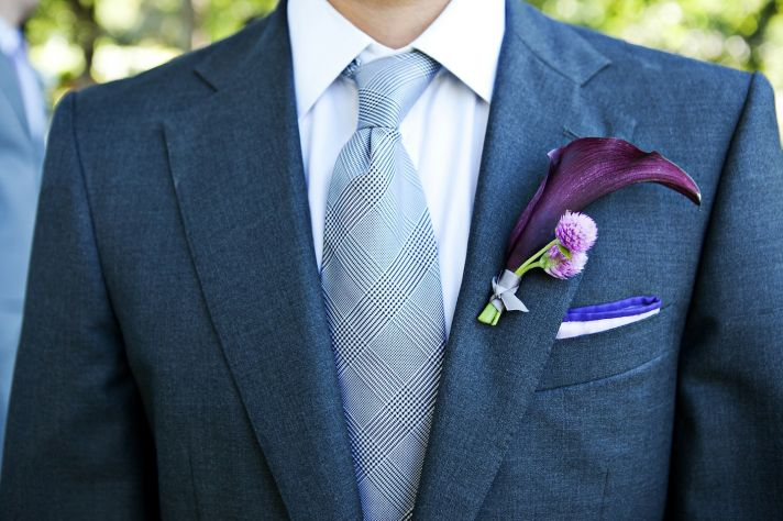 elegant grooms attire for outdoor Malibu wedding gray suit calla lily bout