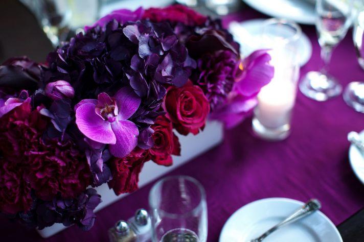 romantic purple red fuschia wedding flower centerpieces California wedding 3
