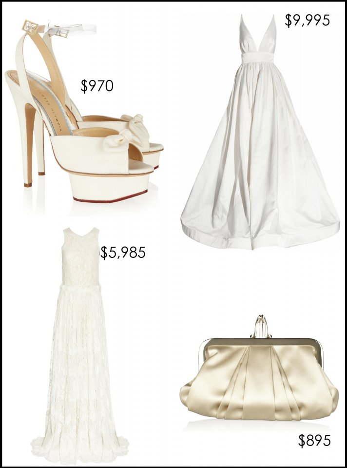 designer wedding dress bridal heels clutch net a porter