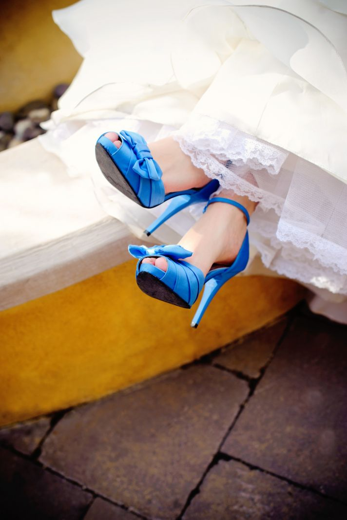 elegant real wedding with simple DIY details ivory wedding dress with lace blue shoes