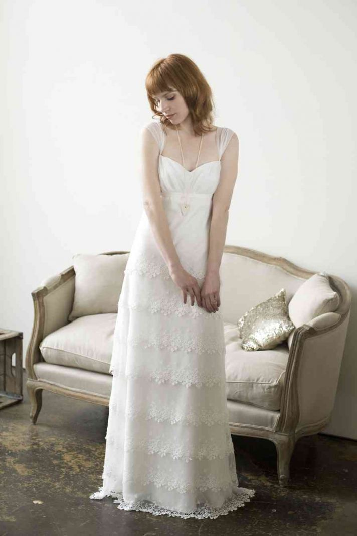romantic cap sleeve wedding dress lace flower applique