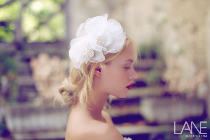 bridal veils hair accessories by Suzy Orourke white floral headpiece