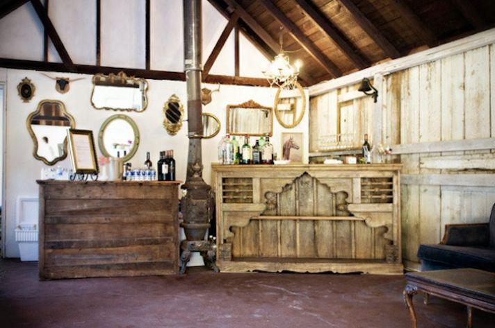 rustic wedding venue mirrored decor