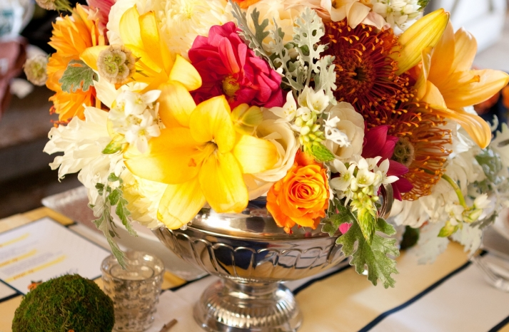 Kentucky Derby inspired wedding theme bridal shower inspiration colorful centerpiece
