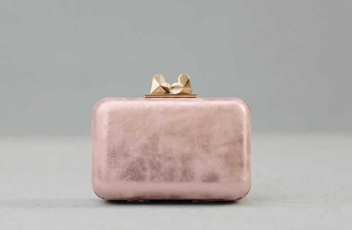 pink gold bridal clutch