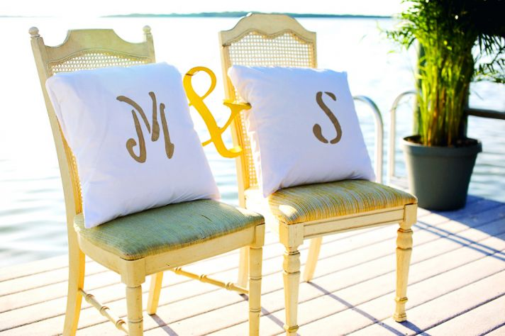 rustic citrus wedding inspiration outdoor spring wedding ideas monogrammed pillows