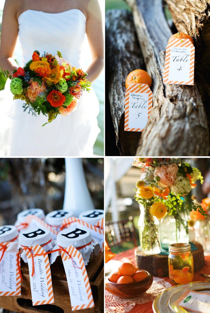 rustic citrus wedding inspiration mason jar centerpieces escort cards
