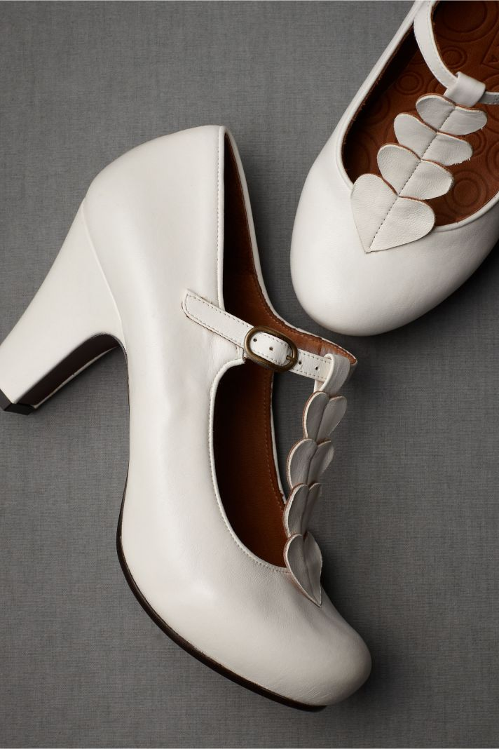 BHLDN bridal accessories for vintage weddings ivory shoes