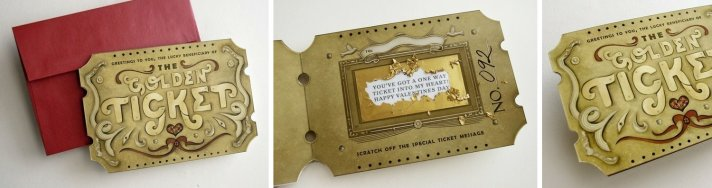 unique wedding invitations save the dates golden ticket 1