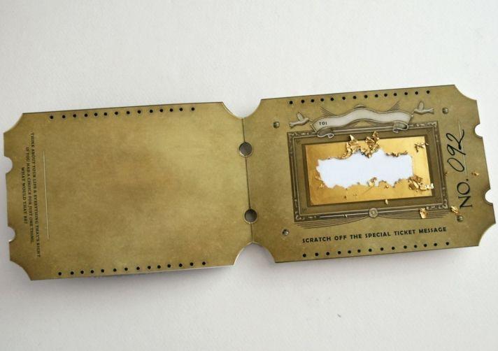 unique wedding invitations save the dates golden ticket 1