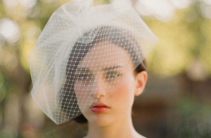 romantic bridal veil birdcage layered tulle net