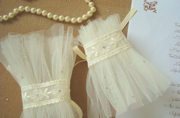 sheer ivory tulle wedding gloves