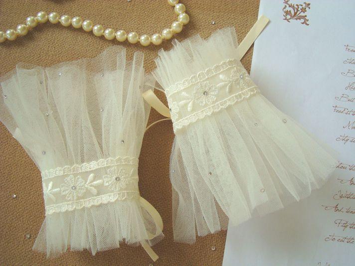 sheer ivory tulle wedding gloves