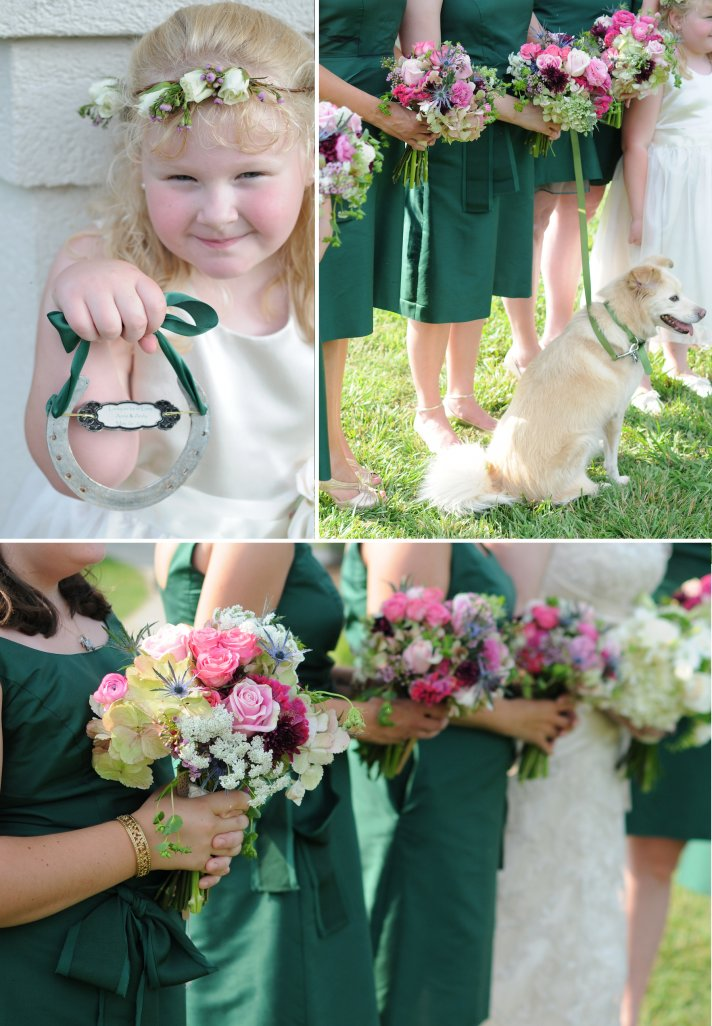 elegant outdoor wedding forest green bridesmaid dresses colorful bouquets 2