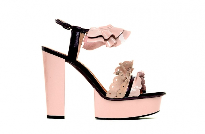 blush pink black wedding shoes chunky platforms