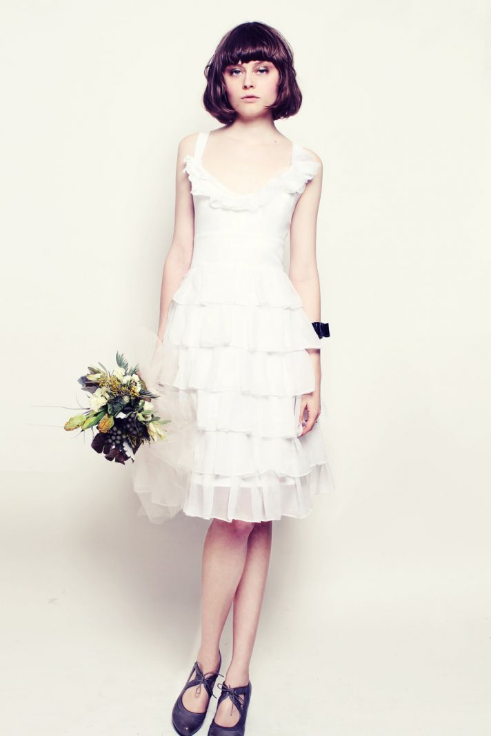 romantic LWD for wedding reception ruffles