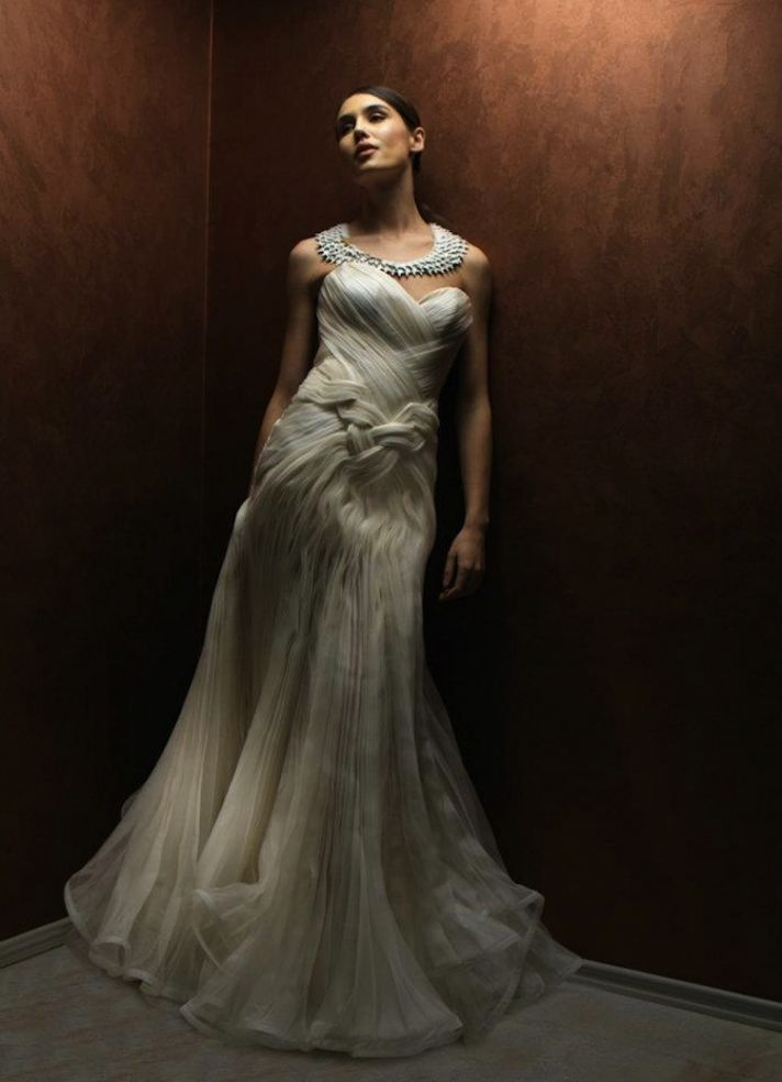 dramatic wedding dress with sweetheart neckline