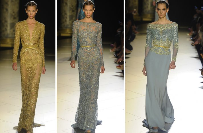 runway to white aisle wedding dress inspiration elie saab couture fall 2012 gold blue