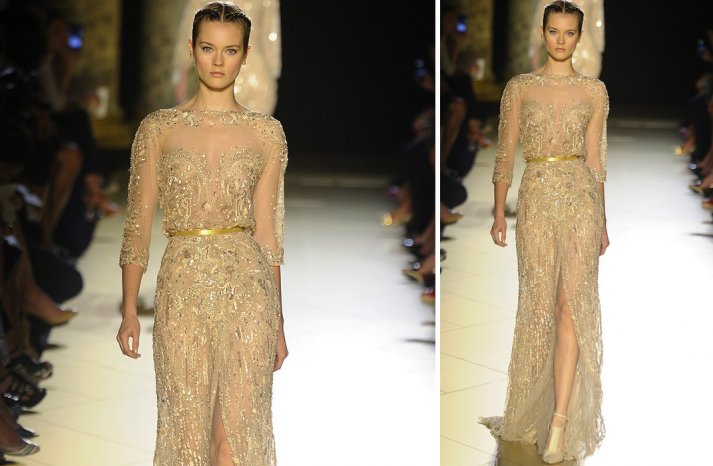 runway to white aisle wedding dress inspiration elie saab couture fall 2012 illusion neckline
