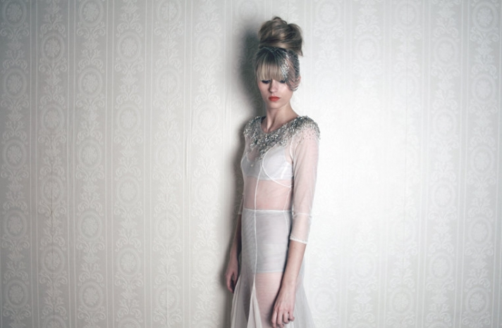 bridal boudoir wedding night lingerie from Etsy sheer coverup with beaded neckline