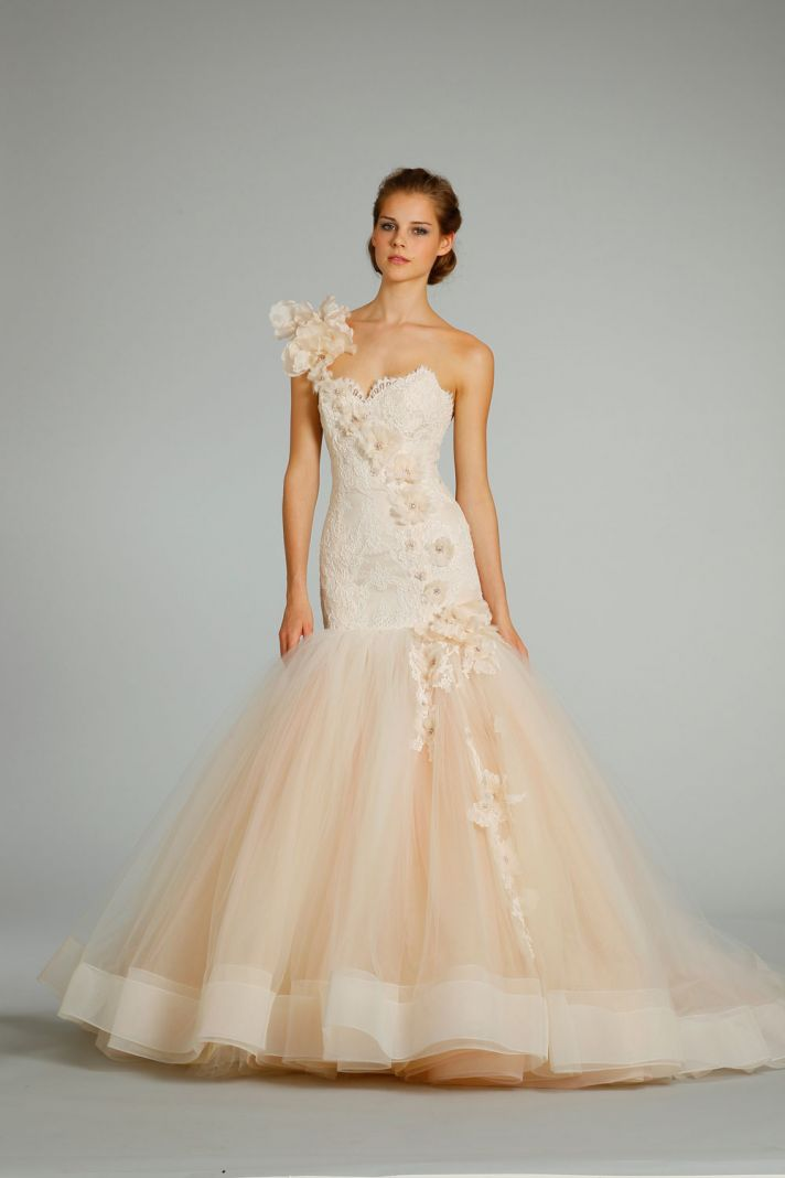 fall 2012 wedding dress Lazaro bridal gowns 3259 peach tulle mermaid
